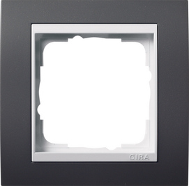 Afdekramen Gira Event antraciet met zuiver wit glanzend