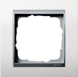 Afdekramen Gira Event zuiver wit mat met kleur aluminium