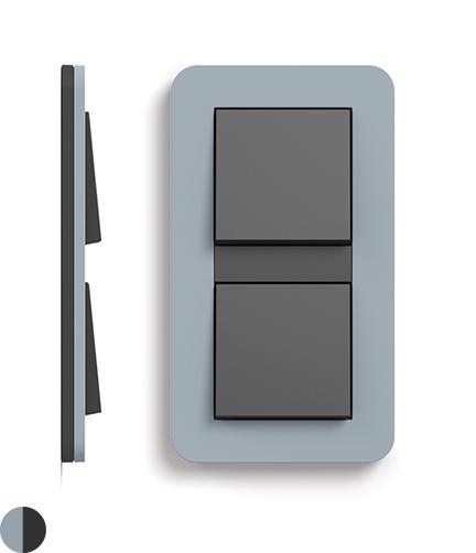 Blauwgrijs Soft-Touch/antraciet