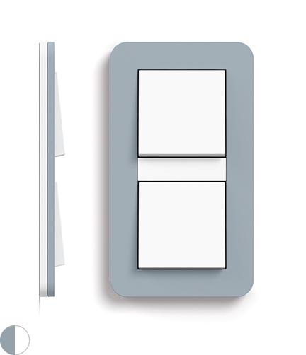 Blauwgrijs Soft-Touch/zuiver wit glanzend