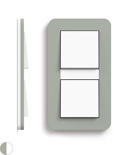 Grijsgroen Soft-Touch/zuiver wit glanzend